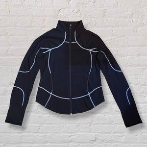 Lululemon Zip-Up Athletic Jacket Black Contrast White Stitching with Mesh Pocket